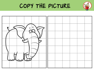 Funny elephant. Copy the picture. Coloring book. Educational game for children. Cartoon vector illustration