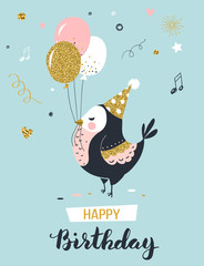 Happy birthday greeting card with bird and air balloons, vector illustration