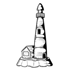 Lighthouse with house on island in doodle style, hand drawn