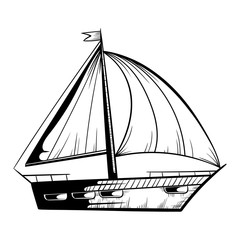 Ship with sail in doodle style, hand drawn