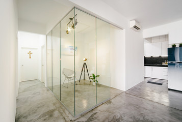 Modern,bright,clean,living ,study room and kitchen interior with glass partition in a loft style house , Interior photography. Fototapete