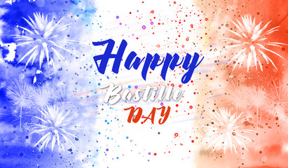 Happy Bastille day background with fireworks and colors of flag of France