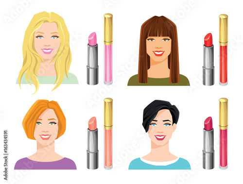 Vector Illustration Of Various Color Lipsticks Isolated On White