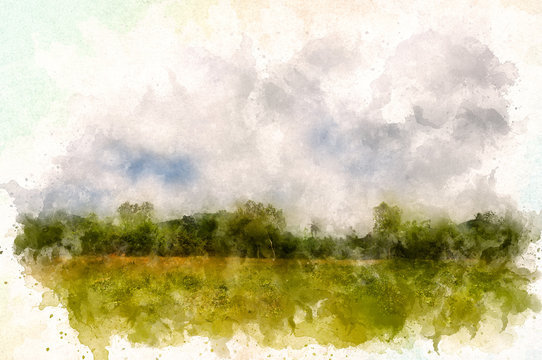 Countryside landscape with water color effect
