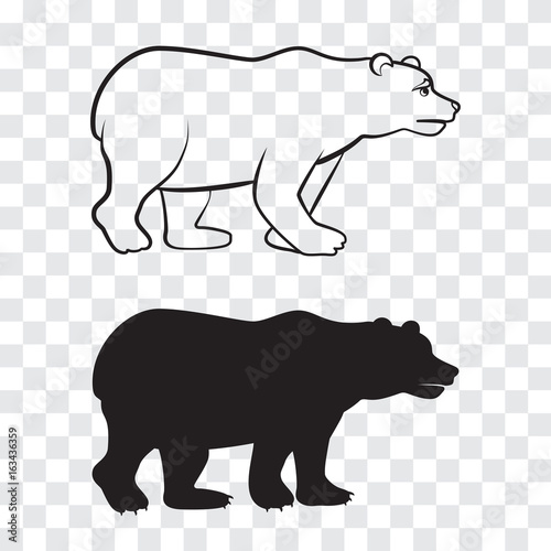 a bear outline and silhouette on transparent background stock