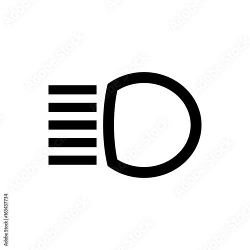 The High Beam Dashboard Icon Car Symbol Flat Design Stock