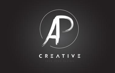 AP Brush Letter Logo Design. Artistic Handwritten Letters Logo Concept.