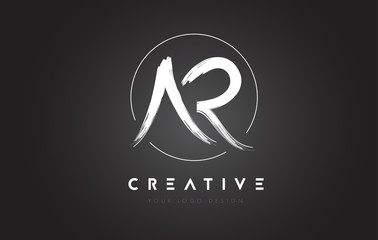 AR Brush Letter Logo Design. Artistic Handwritten Letters Logo Concept.