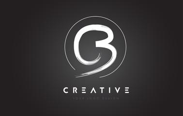 CB Brush Letter Logo Design. Artistic Handwritten Letters Logo Concept.