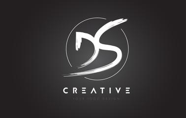 DS Brush Letter Logo Design. Artistic Handwritten Letters Logo Concept.