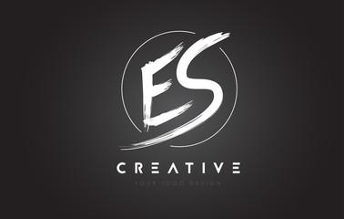 ES Brush Letter Logo Design. Artistic Handwritten Letters Logo Concept.