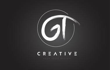 GT Brush Letter Logo Design. Artistic Handwritten Letters Logo Concept.