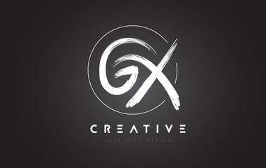 GX Brush Letter Logo Design. Artistic Handwritten Letters Logo Concept.