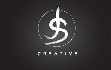 JS Brush Letter Logo Design. Artistic Handwritten Letters Logo Concept.