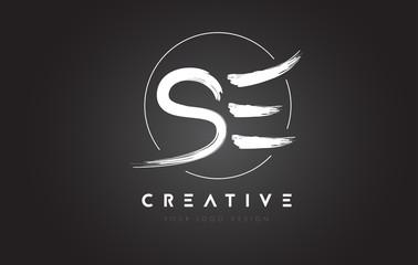 SE Brush Letter Logo Design. Artistic Handwritten Letters Logo Concept.