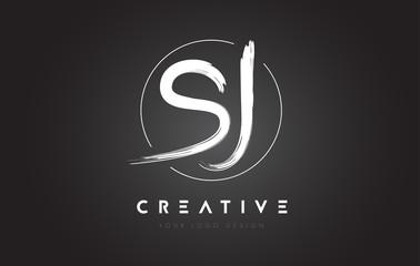 SJ Brush Letter Logo Design. Artistic Handwritten Letters Logo Concept.