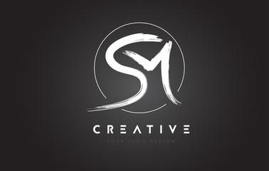 SM Brush Letter Logo Design. Artistic Handwritten Letters Logo Concept.