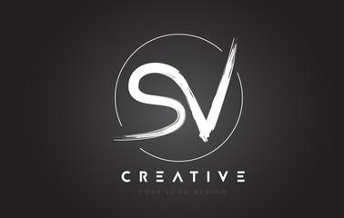 SV Brush Letter Logo Design. Artistic Handwritten Letters Logo Concept.