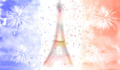 Flag of France with Eiffel tower silhouette in concept of Bastille day celebration