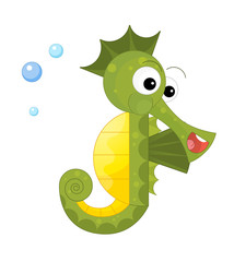 cartoon happy and funny looking seahorse on white background