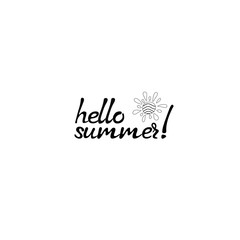 Hello summer card. Hand drawn lettering