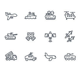 army line icons on white, vector illustration