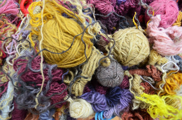 Various colors and textures of wool