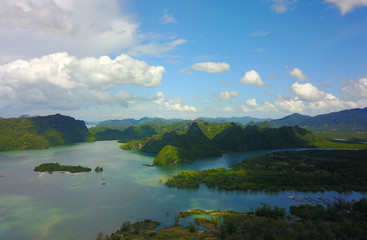 The south of Langkawi island, Malaysia, aerial view from the drone