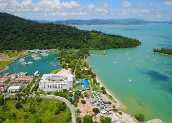 Lighthouse at Langkawi island,Malaysia,aerial view from the drone