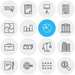 Vector Illustration Of 16 Management Icons. Editable Pack Of Calculate, Goal, House And Other Elements.