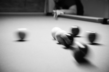 Retro style photo from a billiards balls, Noise added for real film effect,8ball Rack,Black and white poster large room with pool tables