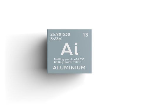 Aluminium. Post-transition metals. Chemical Element of Mendeleev's Periodic Table. Aluminium in square cube creative concept.