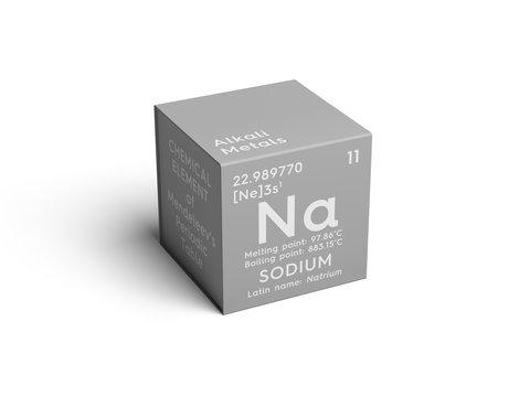 Sodium. Natrium. Alkali metals. Chemical Element of Mendeleev's Periodic Table. Sodium in square cube creative concept.