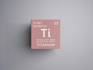 Titanium. Transition metals. Chemical Element of Mendeleev's Periodic Table. Titanium in square cube creative concept.