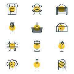 Vector Illustration Of 12 Public Icons. Editable Pack Of Parking, Road Sign, Forest And Other Elements.