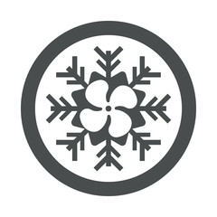 Icono plano helice en simbolo frio en circulo color gris