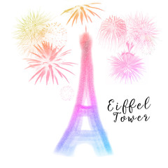 Abstract colorful silhouette of Eiffel tower with fireworks isolated on white background
