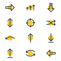 Vector Illustration Of 12 Sign Icons. Editable Pack Of Exchange, Direction, Update And Other Elements.