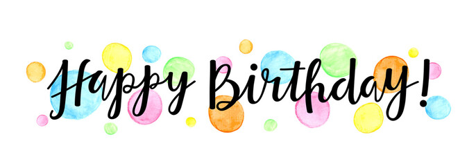 """HAPPY BIRTHDAY"" Hand Lettering Banner with Watercolour Dots"