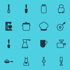 Vector Illustration Of 16 Cooking Icons. Editable Pack Of Kettle, Can, Tablespoon And Other Elements.