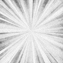 Stipple burst. Black and white grainy dotwork design. Pointillism pattern. Stippled vector illustration.