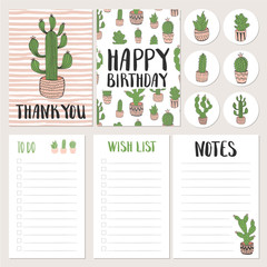 Set of hand drawn cactus cards and planners