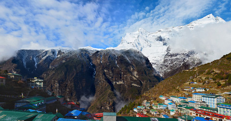 Panoramic view of the Namche Bazaar village with Kongde Ri mount on the background. Sagarmatha national park, Nepal