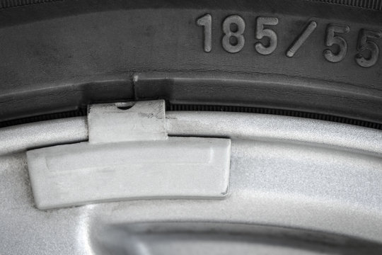 Part of the car wheel close-up.