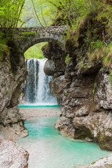 Zelfklevend Fotobehang Bos rivier Waterfalls. Crystalline water. Mountain creek. Chiusaforte, Friuli
