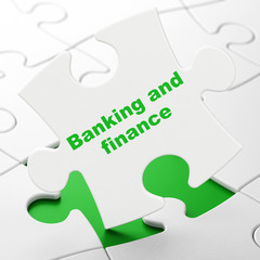 Banking concept: Banking And Finance on puzzle background