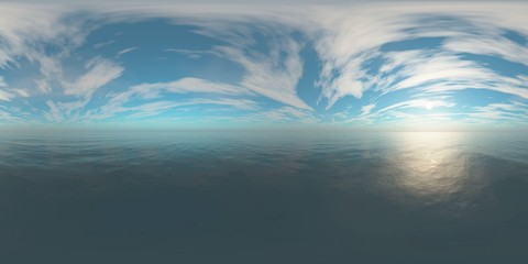 HDRI, environment map, Round panorama, spherical panorama, equidistant projection, sea sunset