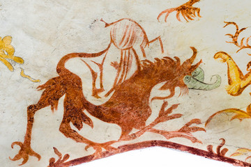 Devil as a fantasy animal, a gothic fresco