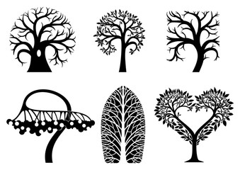 A set of artistic symbols of trees of different shapes. Vector graphics. Templates for icons or logos