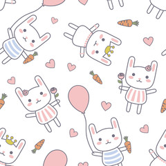 Cartoon Rabbit Seamless Baby Pattern